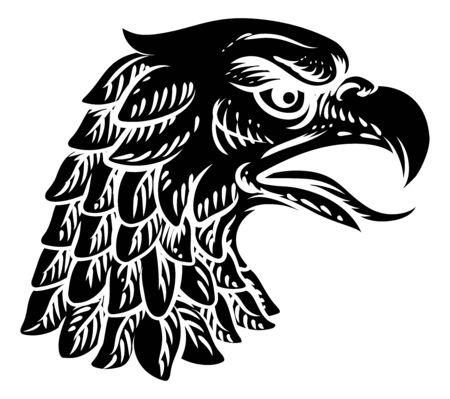 Eagle Falcon Hawk Head Face Mascot