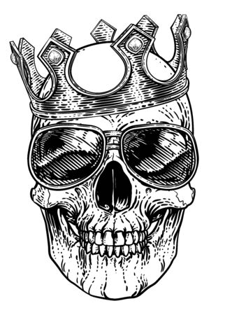 A human skeleton skull wearing sunglasses or shades and a royal kings crown Vettoriali