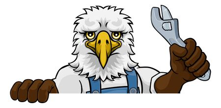 Eagle Plumber Or Mechanic Holding Spanner