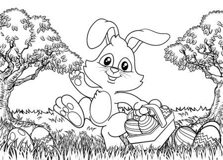 Easter Bunny Rabbit Eggs Basket Background Cartoon Vector Illustration