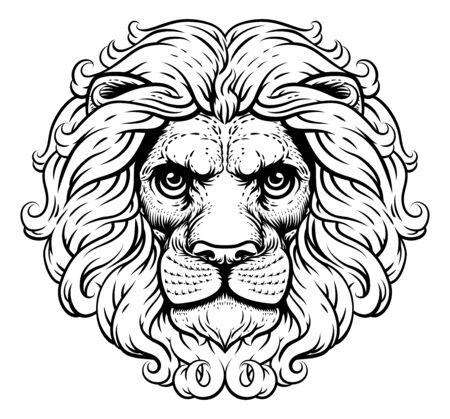 Lion Leo Fierce Lions Head Woodcut Animal Icon Illusztráció