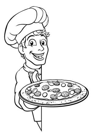 Pizza Chef Cartoon Illustration