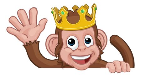 Monkey King Crown Cartoon Animal Sign Waving Illustration