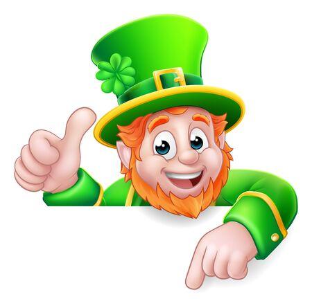Leprechaun St Patricks Day Cartoon Pointing Sign Vector Illustration