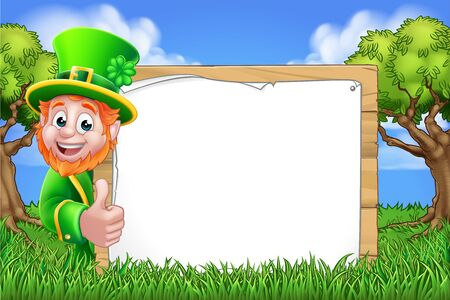 A St Patricks Day Leprechaun cartoon character peeking around a sign and giving a thumbs up in a woodland or park scene