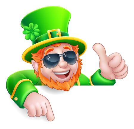 A Leprechaun St Patricks Day cartoon character wearing cool sunglasses. Giving a thumbs up, peeking over a sign and pointing at it