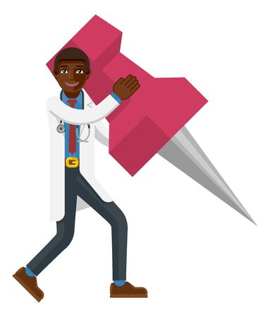 Black Doctor Man Holding Thumb Tack Pin Mascot Illustration