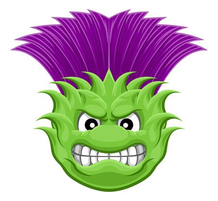 Thistle Plant Flower Mean Sports Cartoon Mascot Vettoriali
