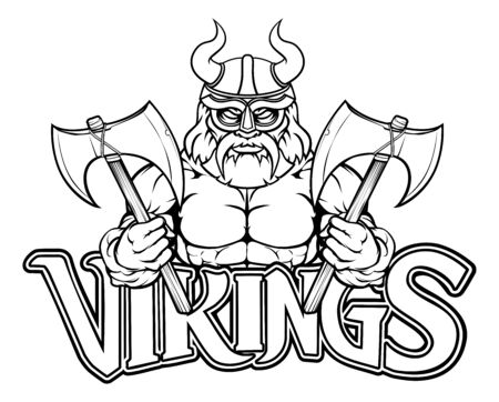 Viking Warrior Sports Mascot Illustration