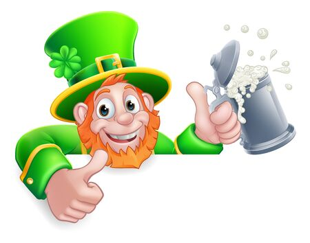 Leprechaun St Patricks Day Cartoon Drink Sign