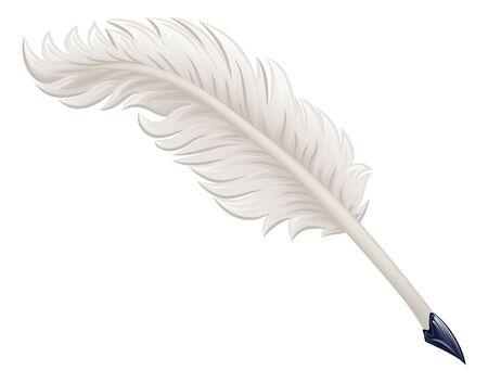 Quill Feather Ink Pen Cartoon Illustration Vector Illustratie