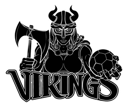 Viking Female Gladiator Soccer Warrior Woman Stock Illustratie