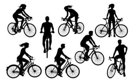 Ensemble de silhouettes de cyclistes à vélo