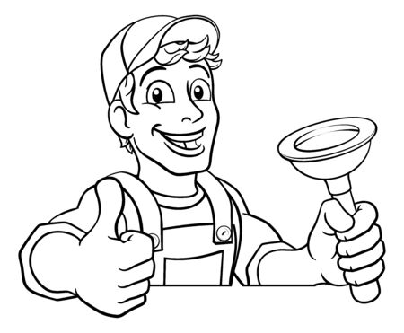 Plumber Cartoon Plumbing Drain Plunger Handyman