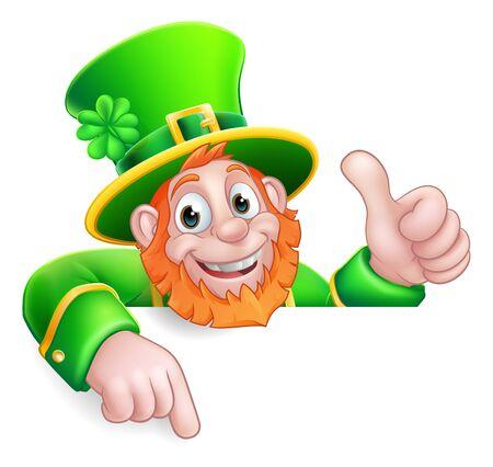 Leprechaun St Patricks Day Cartoon Pointing Sign