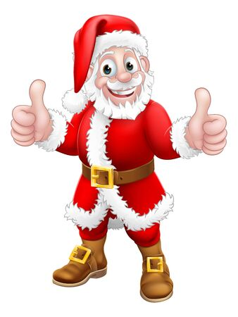 Santa Claus Christmas cartoon character standing giving a double thumbs up. Illustration