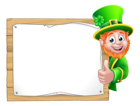 Leprechaun St Patricks Day Cartoon Background Sign
