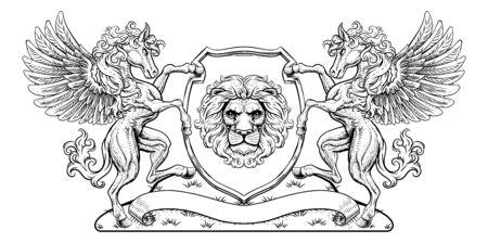 Crest Pegasus Horses Coat of Arms Lion Shield Seal