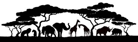 Tiersilhouetten Afrikanische Safari-Szene