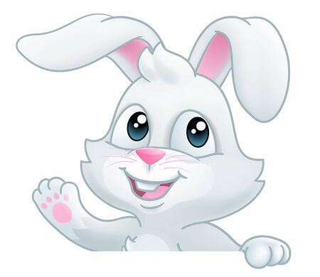 Easter Bunny Rabbit Cartoon Sign Vector Illustration
