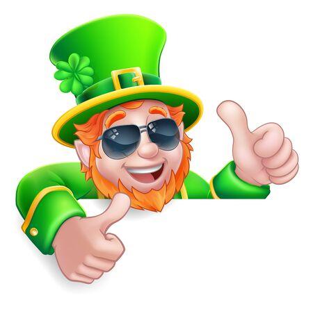 Leprechaun St Patricks Day Cartoon Sunglasses Sign Vektorgrafik