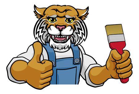 Wildcat Painter Decorator Holding Paintbrush