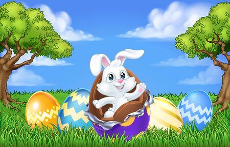 Easter Bunny Rabbit Breaking Chocolate Egg Scene