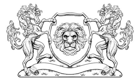 Crest Coat of Arms Horse Lion Family Shield Seal Illustration