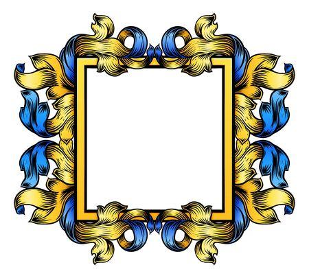 Crest Banner Border Scroll Heraldic Woodcut Frame