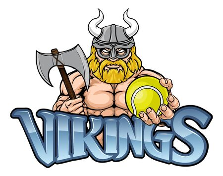 Viking Tennis Sports Mascot Stock Illustratie