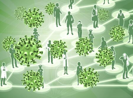 Virus Cells Viral Spread Pandemic People Concept