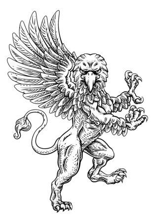 Griffon Rampant Griffin Coat Of Arms Crest Mascot Ilustração