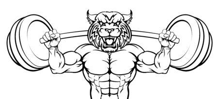 Wildcat Mascot Weight Lifting Body Builder Illustration