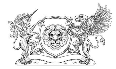 Coat of Arms Crest Griffin Unicorn Lion Shield