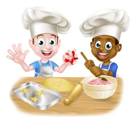 Cartoon Boys Baking Cakes 向量圖像