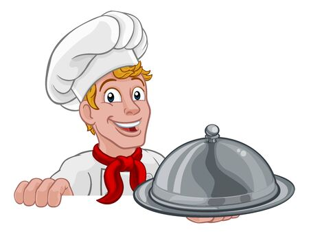 Chef Cook Baker Man Cartoon Holding Domed Tray