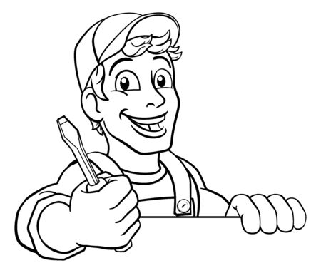 Electrician Cartoon Handyman Plumber Mechanic Illustration