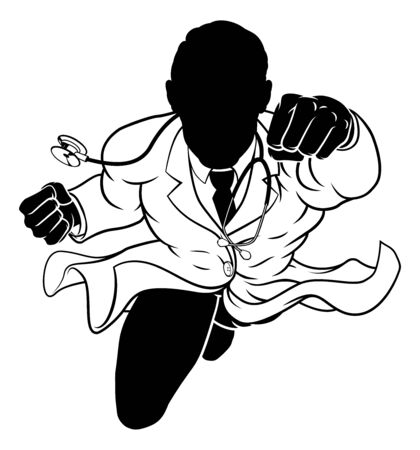 Doctor Superhero Silhouette Medical Concept