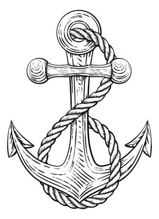 Anchor from Boat or Ship Tattoo Drawing Ilustración de vector