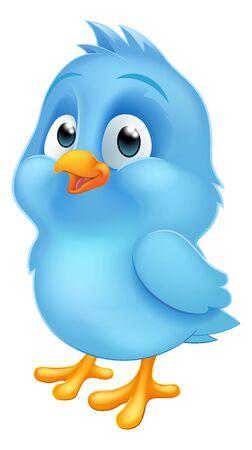 Blue Bluebird Baby Bird Cartoon Mascot