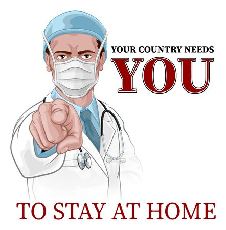 Doctor Wants Needs You Stay Home Pointing Poster Ilustración de vector
