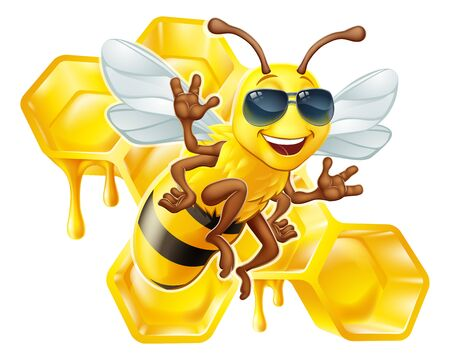 Bumble Bee Honey Honeycomb Sunglasses Bumblebee Banco de Imagens - 143896925