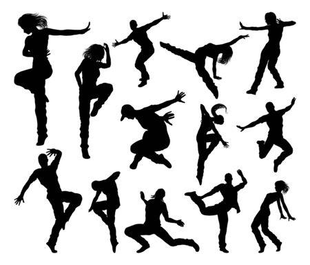 Eine Reihe von Streetdance-Hip-Hop-Tänzern für Männer und Frauen in Silhouette