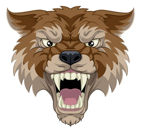A wolf or werewolf angry dog monster scary animal mascot