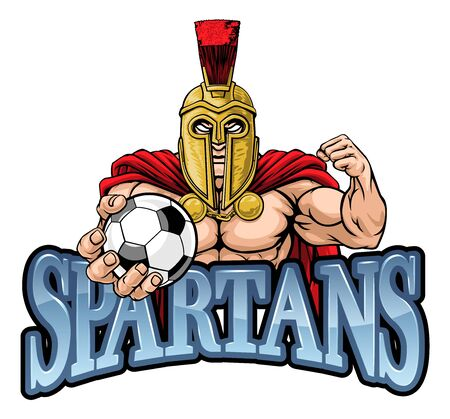 Spartan Trojan Soccer Football Sports Mascot Illustration