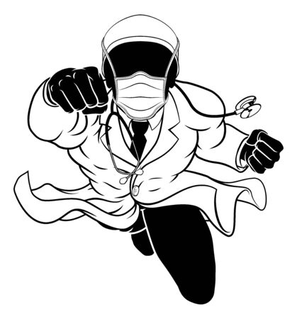 Doctor Super Hero Silhouette Medical Concept