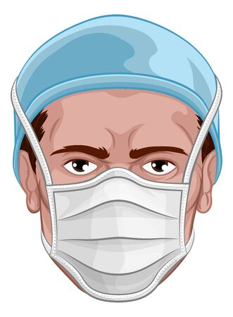 Doctor Wearing PPE Protective Face Mask Vettoriali