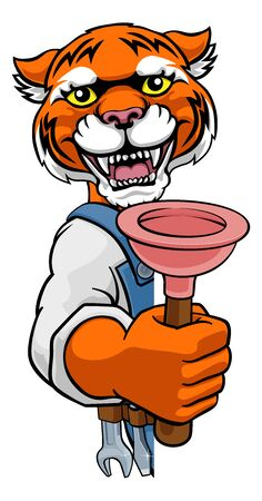 Tiger Plumber Cartoon Mascot Holding Plunger