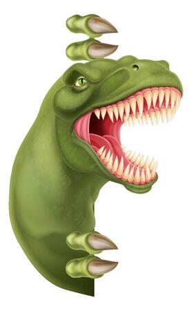 Dinosaur T Rex Peeking Around Sign Cartoon