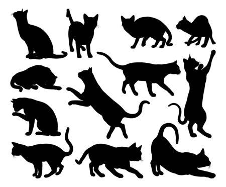 Un ensemble de graphiques d'animaux de compagnie de silhouettes de chat Vecteurs
